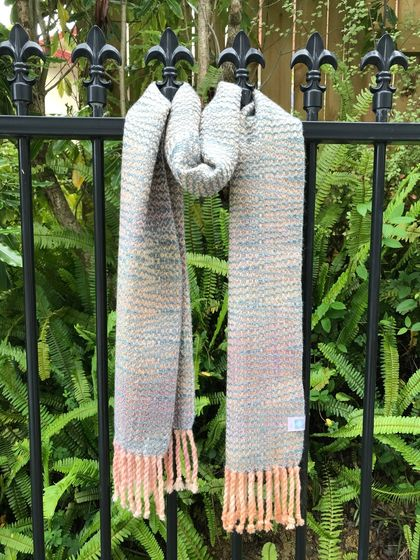 Blue & Blush Pink Watercolour Scarf