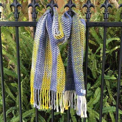 Blue Yellow & Grey Watercolour Scarf