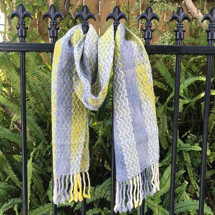 Soft Blue, Yellow & Grey Watercolour Scarf