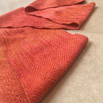 Magma Orange Silk Merino Handwoven Scarf