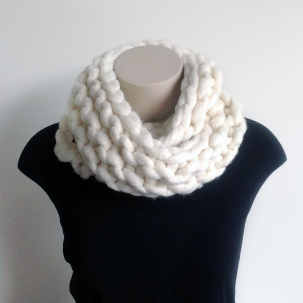 Knitting A Chunky Scarf : Chunky knit merino infinity scarf felt