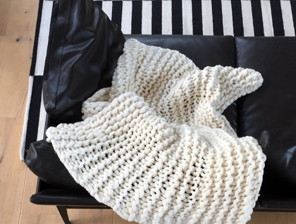 Natural Creamy Merino Throw