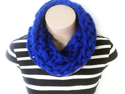 Cobalt Blue Chunky Knit Merino Infinity Scarf