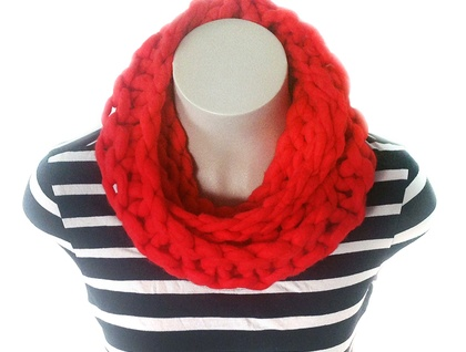 Chunky Red Merino Infinity Scarf