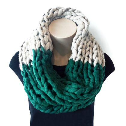 Forest Green & Grey Chunky Infinity Scarf