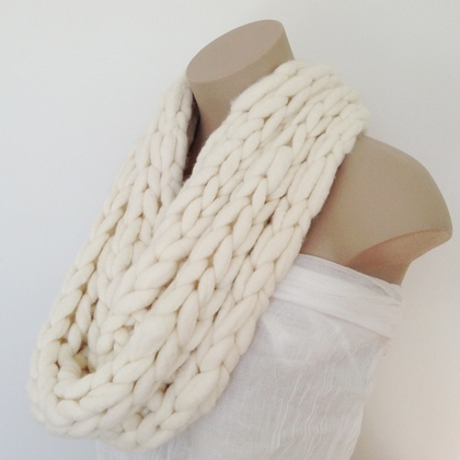 White or Grey Merino Single Infinity Scarf