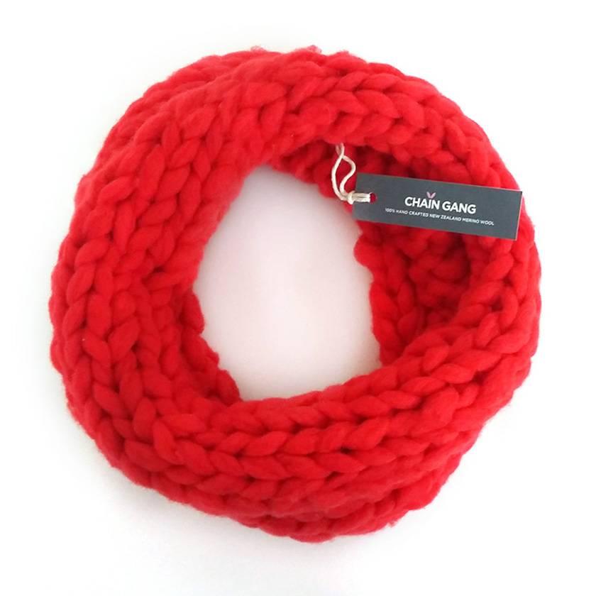 Red Chunky Merino Single Infinity Scarf