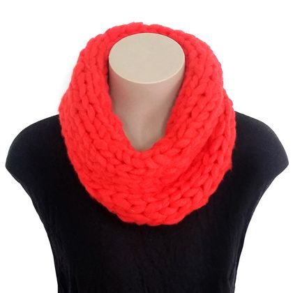 Red Chunky Merino Single Infinity Scarf