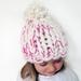 Chunky White and Pink Merino Hat