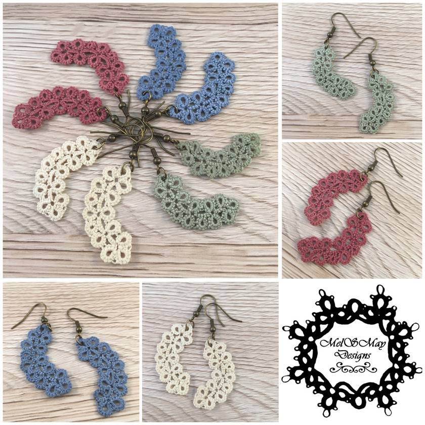 Miss Ivy - tatted lace earrings