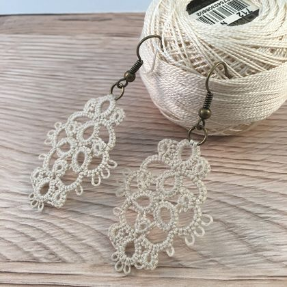 Tatted Lace Earrings - Ruru Design
