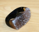 Sparkly, Natural Druzy, Carved, Full Stone Agate Gemstone Double Ring Size US8 - NZ Size P1/2