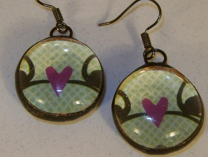 Mint green and pink heart earrings