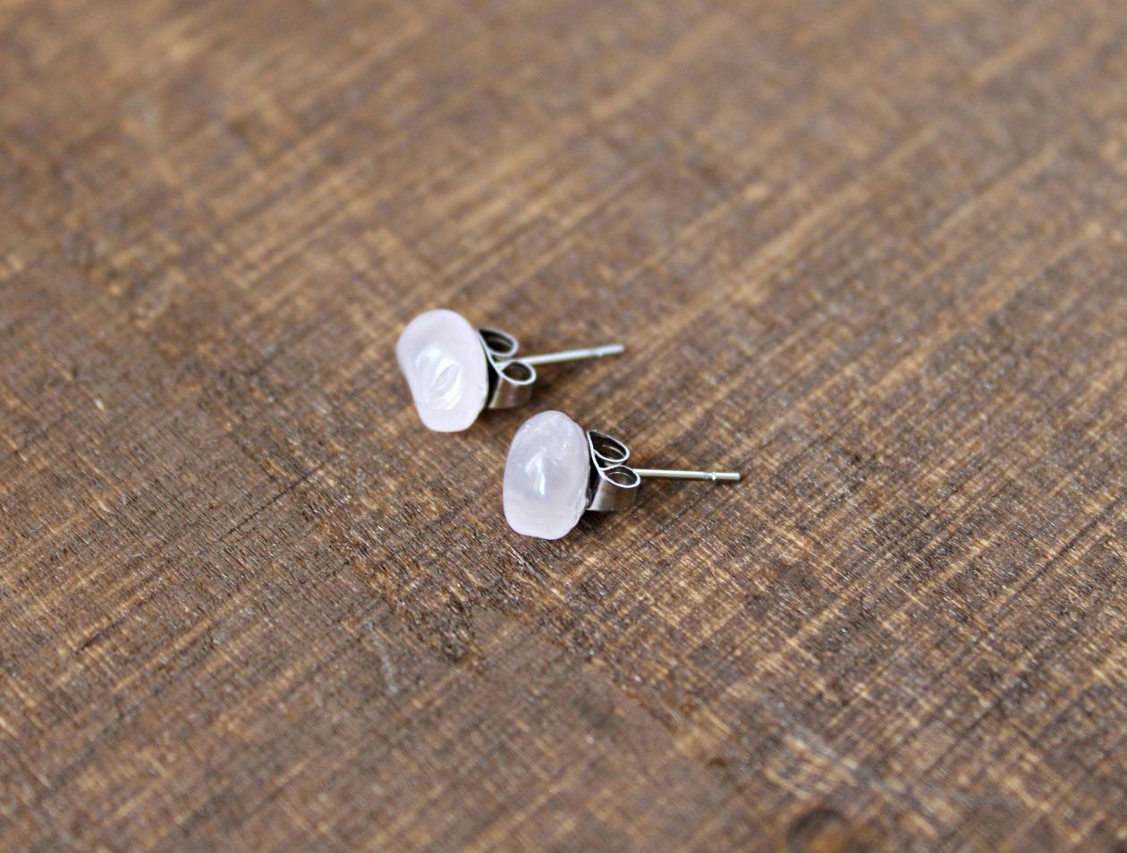 Raw Gemstone Stud Earrings Rose Quartz Felt