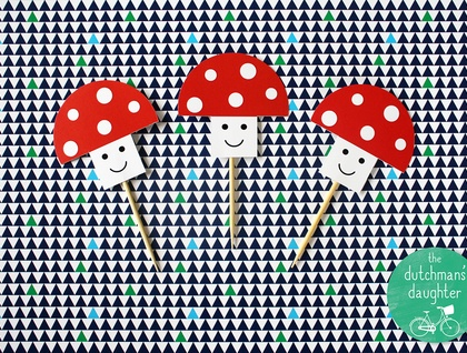Toadstool Cupcake Toppers