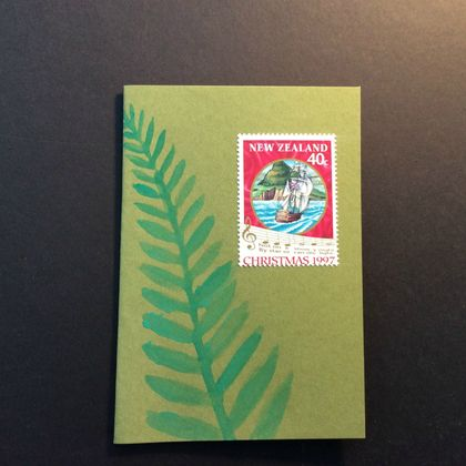 Christmas Cards, handmade with NZ Christmas stamps and paua shell.