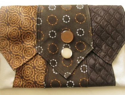 Tie Clutch in brown, orange and cream (upcycled)