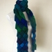 Entrelac scarf in shades of blues, greens and purples