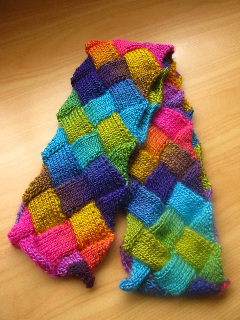 Entrelac scarf in rainbow colours