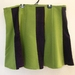 Avocado green felted panel skirt with purple corduroy