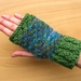 Green and blues fingerless gloves