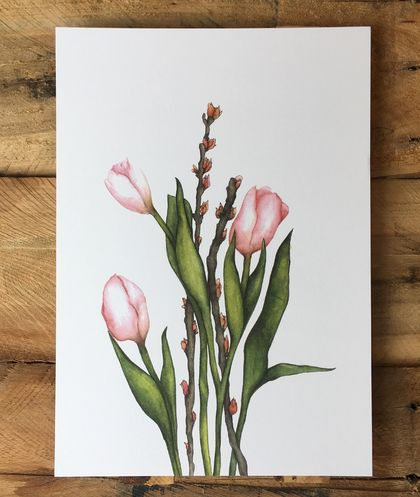 Pink Tulips Print A4