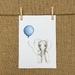 Elephant & Balloon Print A5