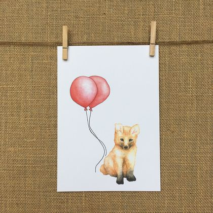 Fox & Balloon Print A5