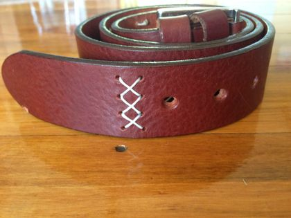 Hand cross stitched leather belt - made to order