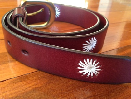 Custom made hand stitch leather belt