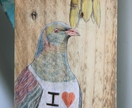 Kereru I love NZ - original art on recycled timber!
