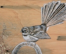 Fantail study - Original hand drawn Fantail on recycled macrocarpa timber