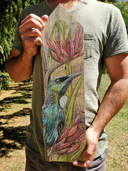 Tui in Flax - hand drawn artwork upon recycled fence picket