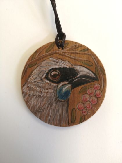 Hand drawn Kokako necklace