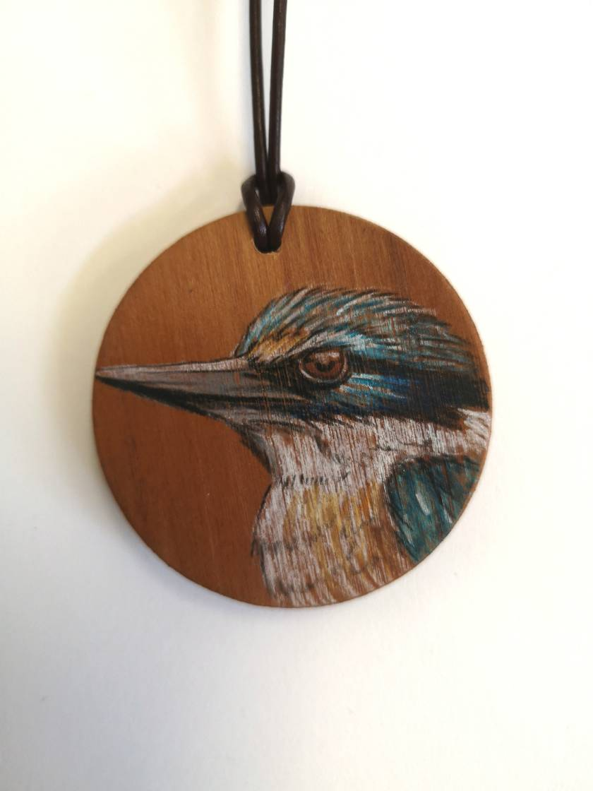 Hand drawn Kingfisher necklace