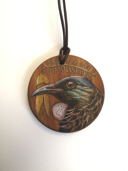 Hand drawn Tui in Kowhai necklace
