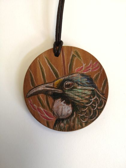 Hand drawn Tui in Flax necklace