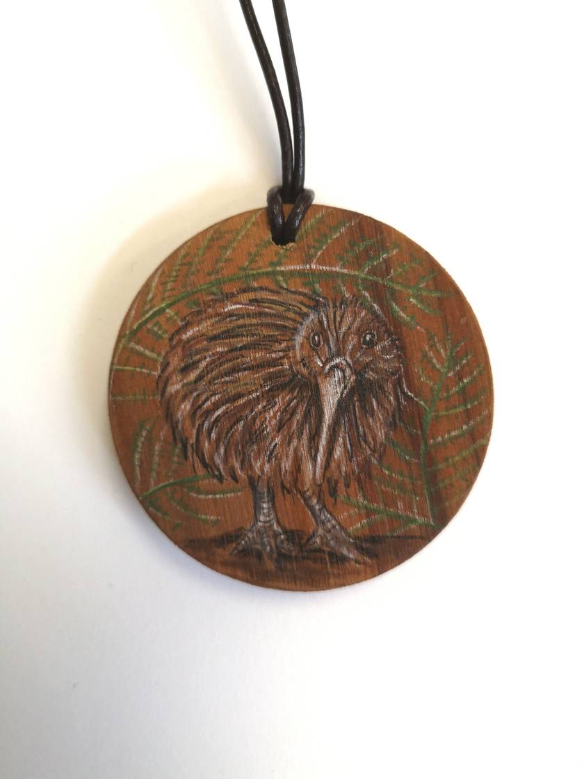 Hand drawn Kiwi necklace