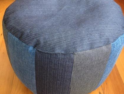 Upcycled Denim Ottoman Pouf Floor Cushion