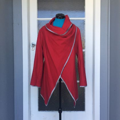 Red wool wrap jacket with silver trim