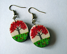 Pohutukawa tree oval earrings