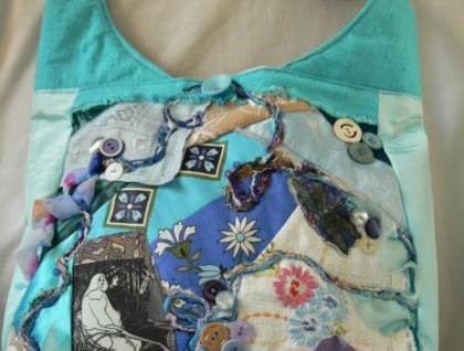 vintage fabric collaged bag