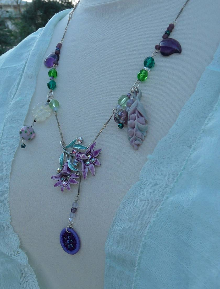 Spring Lilies Assemblage Necklace.