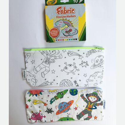 Colour me in zipped bag with fabric markers felt for Space fabric nz