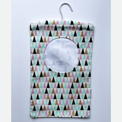 Peg Bag - Turquoise Mauve Triangles