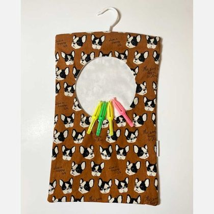 Do You Use A Washing Line - Use a Peg Bag! ~ French Bull Dogs/Vintage/Abstract