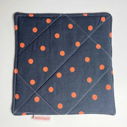 A Hand Hot Pad ~ Orange Polka Dots