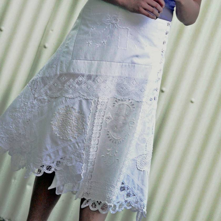 white lace romance wrap skirt in upcycled doilies