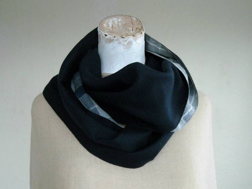 fine wool infinity scarf in vintage fabrics