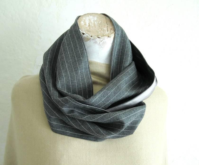 grey pinstripe  infinity scarf